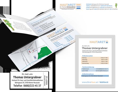 Dr. Thomas Untergrabner Briefpapier Visitenkarten Ordinationstafel Arztpraxis Ordination Arzt